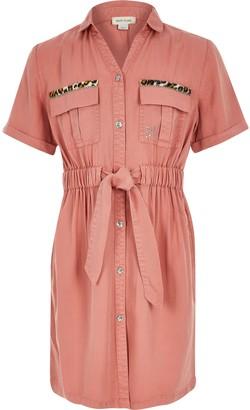 River Island Girls Pink tie belted utility shirt dress