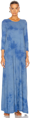 Raquel Allegra Half Sleeve Drama Maxi Dress in Blue Tie Dye | FWRD