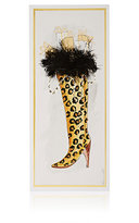 Constance Kay Hand-Painted Leopard-Print Boot Holiday Card-WHITE, NO COLOR