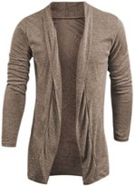 uxcell® Men Open Front Long Sleeves Shawl Collar Cardigan M