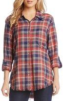 Karen Kane Fringe Plaid Button Up Tunic Shirt