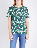 Sandro Floral and paisley-print cotton top