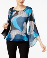 Alfani Petite Printed Angel-Sleeve Blouson Blouse, Created for Macy's