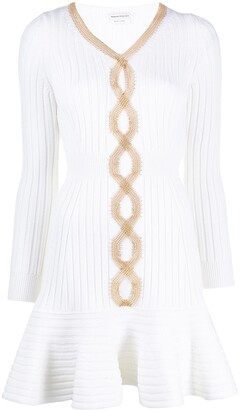 Alexander McQueen Mesh-Chain Embellished Knitted Dress