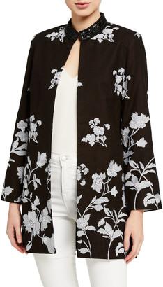 Bella Tu Bloom Floral Jacquard Jacket w/ Sequin Embellished Collar