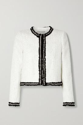 Alice Olivia - Kidman Embellished Metallic Tweed Jacket - White
