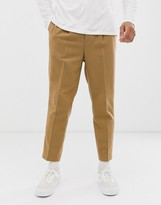 Asos Design DESIGN tapered crop smart trousers in textured wool mix camel