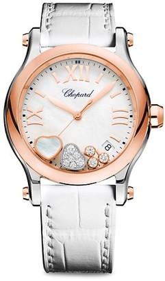 Chopard Happy Sport Diamond, 18K Rose Gold, Stainless Steel & Alligator Strap Watch