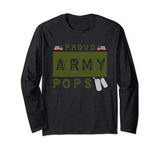 Proud Army Pops American Military Family USA Flag Dad Gift Long Sleeve T-Shirt