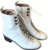 BY FAR White Leather Ankle boots