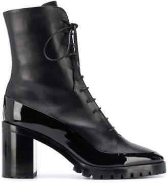 L'Autre Chose Patent Trim Ankle Boots