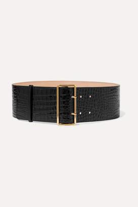 Alexander McQueen Croc-effect Patent-leather Waist Belt - Black