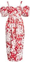 Rosie Assoulin Off-The-Shoulder Puff-Sleeve Floral Silk Midi Dress