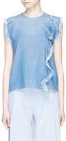 Closed Fringed ruffle sleeveless denim top