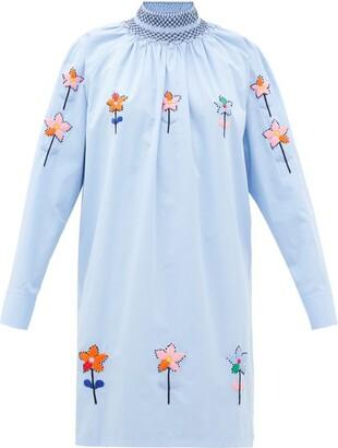 Prada Floral-embroidered Cotton-poplin Longline Blouse - Light Blue