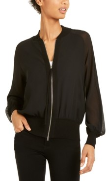 Marella Mesh-Sleeve Zippered Jacket