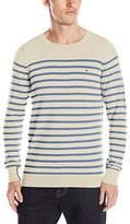 Tommy Hilfiger Men's Lambs Wool Nylon Crew Neck Stripe Sweater