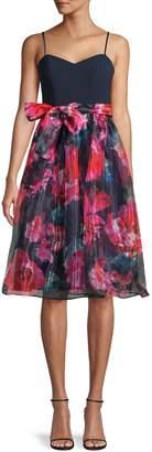 Eliza J Bow-Waist Fit--Flare Dress