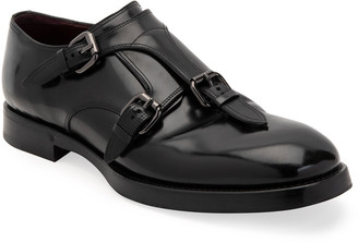 Dolce & Gabbana Men's Runway Triple-Monk Strap Leather Slip-On Shoes