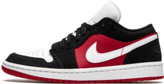 Jordan Womens Air 1 Low 'Black / White Gym Red' Shoes - Size 5W