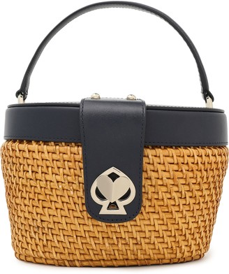 Kate Spade Rose Medium Leather-trimmed Studded Rattan Tote