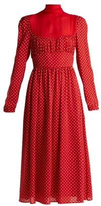 Valentino Polka-dot Silk-georgette Gown - Womens - Red White