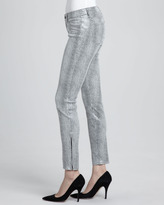 J Brand Jeans Metallic Python-Print Suede Skinny Pants