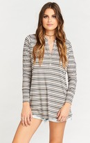 MUMU Hibernate Henley ~ Shadow Stripe Rib Rose & Grey
