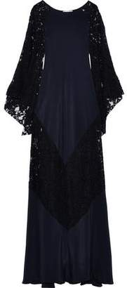 Oscar de la Renta Corded Lace And Silk Crepe De Chine Gown