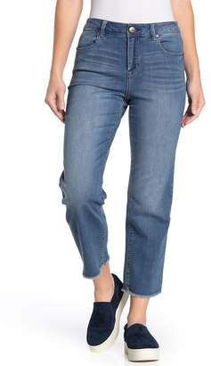1822 Denim Frayed Ankle Cut Straight Leg Jeans