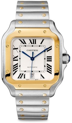 Cartier Santos de Large 18K Yellow Gold & Stainless Steel Two-Strap Watch