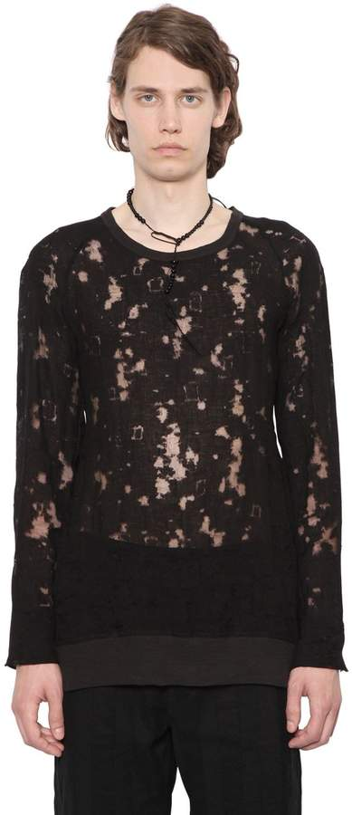 Ann Demeulemeester Linen Devore Effect Long Sleeve T-Shirt
