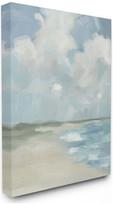 "Stupell Industries Impressionist Neutral Blue Green Beach Ocean Painting, 16""x20"", Canvas"