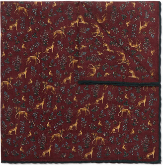 Drakes + Printed Wool And Silk-Blend Pocket Square