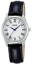 Pulsar Women's Stainless Steel Black Leather Strap Watch