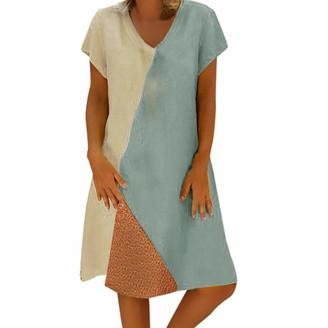 Timemean Womens Dresses Clothes Sale V Neck Daily Vintage Short Sleeve Summer Cotton Linen Swing Silver Midi Dress XXL