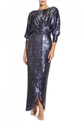 Aidan Mattox Beaded Gown With Cap Sleeve Dress