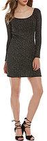 Jump Long-Sleeve Glitter-Accented Slinky Sheath Dress