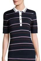 St. John Sport Collection Striped Dot Polo Shirt