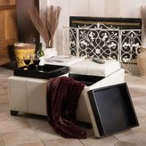 Christopher Knight Home Dartmouth Four Sectioned Cream Bonded Leather Cube Storage Ottoman