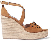 Tabitha Simmons Clem Cutout Suede Espadrille Wedge Sandals - Light brown