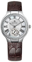 Philip Stein Teslar Ladies Silvertone Diamond and Leather Chronograph Watch