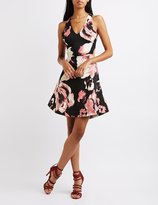 Charlotte Russe Floral Cut-Out Skater Dress
