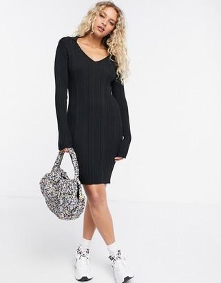 Weekday Fleur rib knit collared mini dress in black