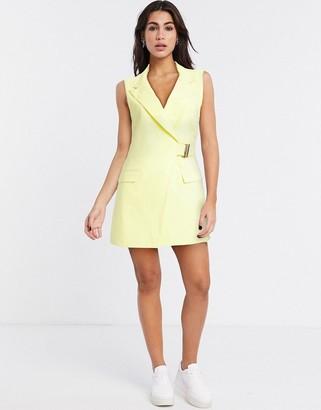Topshop sleeveless mini blazer dress in lemon