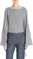 Tibi Women's Gingham Convertible Sleeve Top