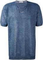 Paolo Pecora buttoned neck T-shirt - men - Linen/Flax - S