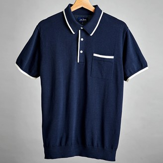 The Tie Bar Navy Tipped Cotton Sweater Polo