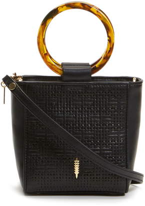 THACKER Mini Le Bucket Tortoise Ring Handle Leather Bag