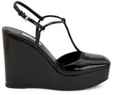 Prada Patent Leather T-Strap Wedge Sandals